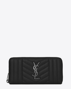SAINT LAURENT Monogram Mix Matelassé D monogram zip around wallet in black mix matelassé leather f