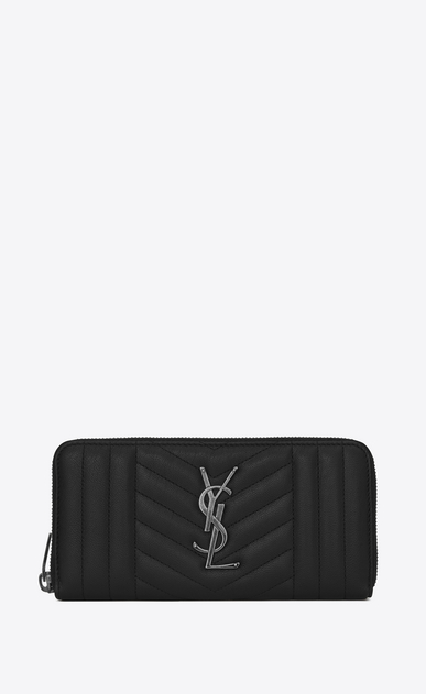 SAINT LAURENT Monogram Mix Matelassé D monogram zip around wallet in black mix matelassé leather a_V4