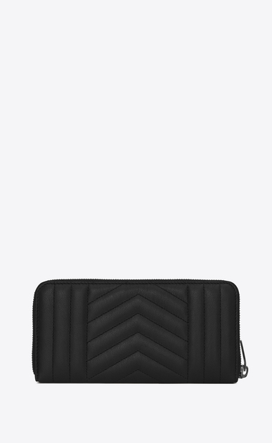 SAINT LAURENT Monogram Mix Matelassé D monogram zip around wallet in black mix matelassé leather b_V4