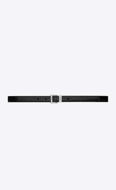 SAINT LAURENT Skinny Belts D MONOGRAM PASSANT Buckle Belt in Black Crocodile Embossed Glossy Leather a_V4