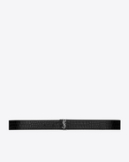 SAINT LAURENT Medium Belt D MONOGRAM Prong Buckle Belt in Black Crocodile Embossed Glossy Leather f