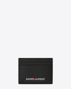 SAINT LAURENT Saint Laurent Paris SLG U Kreditkartenetui in Schwarz mit Saint Laurent-Signaturprägung f