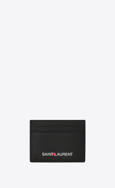 SAINT LAURENT Saint Laurent Paris SLG Man saint laurent print credit card case in black leather a_V4