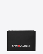 SAINT LAURENT Saint Laurent Paris SLG U Tabletetui in Schwarz mit Saint Laurent-Signaturprägung f