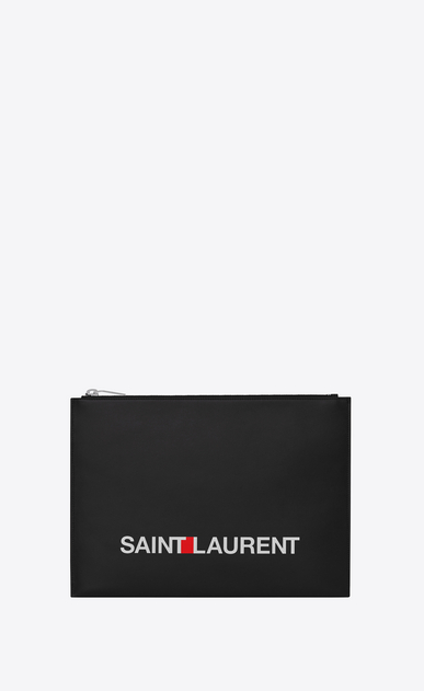 SAINT LAURENT Saint Laurent Paris SLG Man saint laurent print tablet holder in black leather a_V4