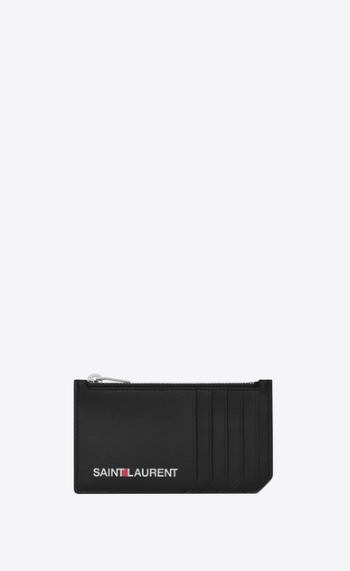 SAINT LAURENT Saint Laurent Paris SLG Man saint laurent print zip pouch in black leather a_V4