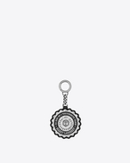 SAINT LAURENT Key Ring U Schlüsselkette in Schwarz mit Saint Laurent Université-Print f