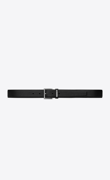 SAINT LAURENT Classic Belts Man ID CARRÉE Buckle Belt in Black Leather a_V4