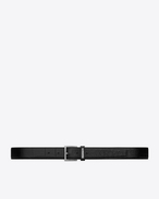 SAINT LAURENT Classic Belts U ID CARRÉE Buckle Belt in Black Crocodile Embossed Leather f
