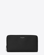SAINT LAURENT Saint Laurent Paris SLG U classic saint laurent paris zip around wallet in black grain de poudre textured leather  f