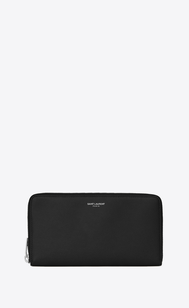 zip around wallet in grain de poudre embossed leather