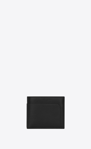 SAINT LAURENT Fragments Small Leather Goods U classic fragments east/west wallet in black leather and black shiny trim a_V4