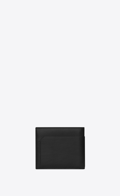 SAINT LAURENT Fragments Small Leather Goods U classic fragments east/west wallet in black leather and black shiny trim b_V4