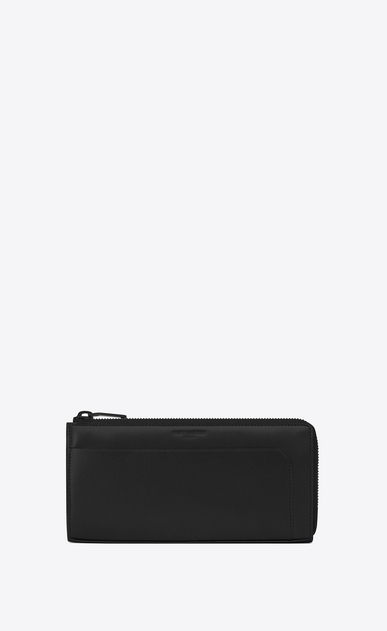 SAINT LAURENT Fragments Small Leather Goods U classic fragments zip around wallet in black leather and black shiny trim a_V4