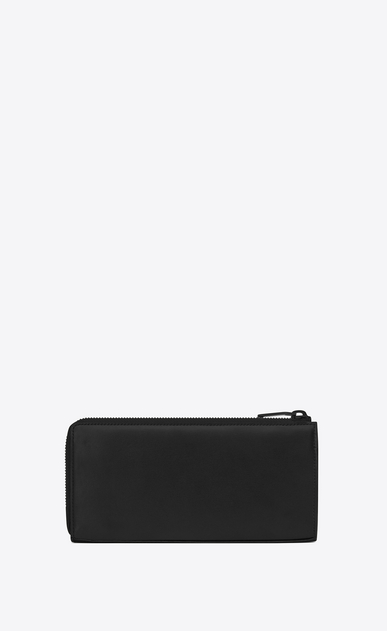 SAINT LAURENT Fragments Small Leather Goods U classic fragments zip around wallet in black leather and black shiny trim b_V4