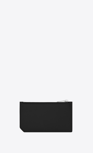 SAINT LAURENT Saint Laurent Paris SLG Man saint laurent paris 5 fragments zip pouch in black textured leather b_V4