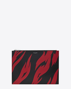 SAINT LAURENT SLP animation U SAINT LAURENT Flame Print Tablet Holder in Black and Red leather f