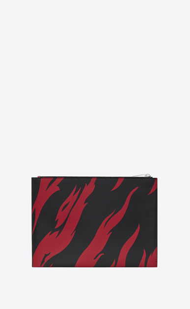 SAINT LAURENT SLP animation U Saint Laurent Tablet-Etui aus schwarzem und rotem Leder mit Flammenprint b_V4