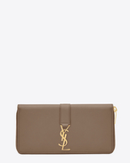 SAINT LAURENT YSL line D YSL Zip Around Wallet in Taupe Leather f
