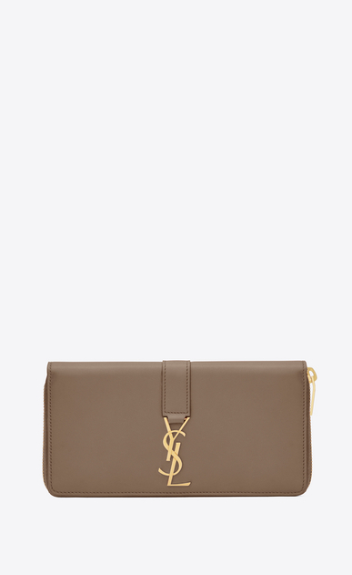 SAINT LAURENT YSL line Donna Portafogli YSL con zip integrale in pelle color talpa a_V4