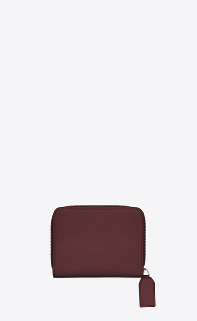 SAINT LAURENT Rive gauche SLG D RIVE GAUCHE Compact Zip Around Wallet with Monogrammed Pull in Dark Red Grained Leather  b_V4