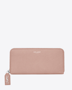 SAINT LAURENT Rive gauche SLG D RIVE GAUCHE Zip Around Wallet with Monogrammed Pull in Pale Blush Grained Leather  f