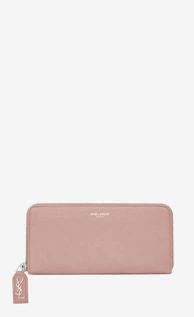 SAINT LAURENT Rive gauche SLG D RIVE GAUCHE Zip Around Wallet with Monogrammed Pull in Pale Blush Grained Leather  a_V4