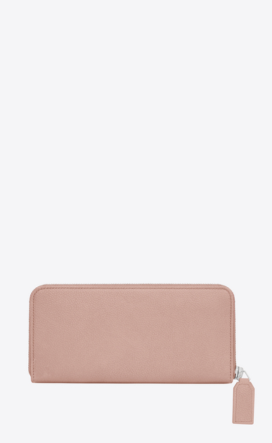 SAINT LAURENT Rive gauche SLG D RIVE GAUCHE Zip Around Wallet with Monogrammed Pull in Pale Blush Grained Leather  b_V4