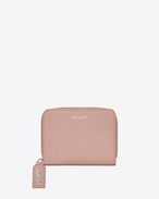 SAINT LAURENT Rive gauche SLG D RIVE GAUCHE Compact Zip Around Wallet with Monogrammed Pull in Pale Blush Grained Leather  f