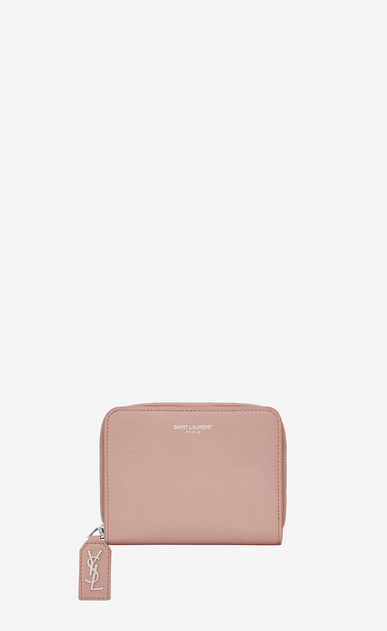 SAINT LAURENT Rive gauche SLG D RIVE GAUCHE Compact Zip Around Wallet with Monogrammed Pull in Pale Blush Grained Leather  v4
