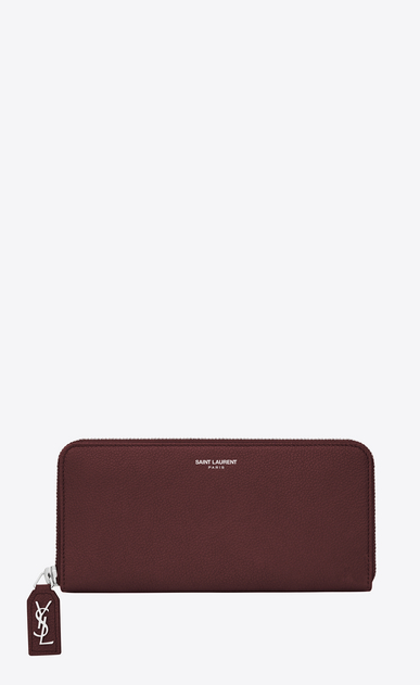 SAINT LAURENT Rive gauche SLG D RIVE GAUCHE Zip Around Wallet with Monogrammed Pull in Dark Red Grained Leather  v4