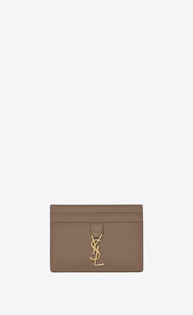 SAINT LAURENT YSL line D YSL Credit Card Case in Taupe Leather a_V4