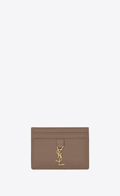 SAINT LAURENT YSL line D Porta carte YSL in pelle color talpa a_V4