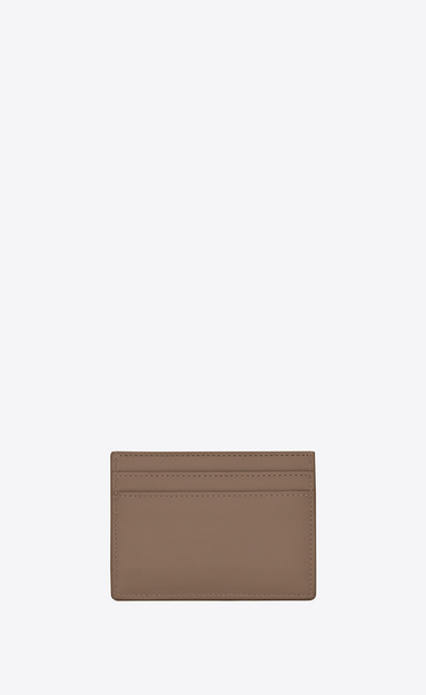SAINT LAURENT YSL line D YSL Credit Card Case in Taupe Leather b_V4