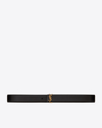 SAINT LAURENT Medium Belt D MONOGRAM Prong Buckle Belt in Black Leather f