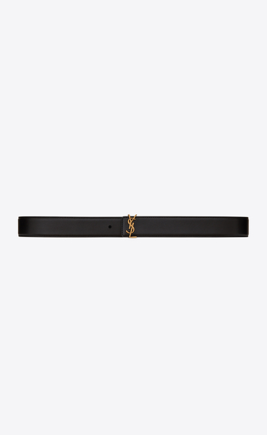 SAINT LAURENT Medium Belt Woman prong buckle belt in black leather a_V4