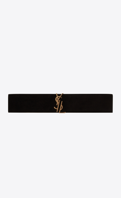 SAINT LAURENT Wide Belts D MONOGRAM Deconstructed Buckle Belt in Black Suede a_V4