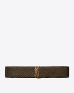 SAINT LAURENT Breite Gürtel D MONOGRAM Deconstructed Buckle Belt in Gold and Black Leather Lamé f