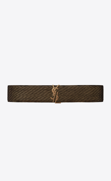 SAINT LAURENT Wide Belts D MONOGRAM Deconstructed Buckle Belt in Gold and Black Leather Lamé a_V4