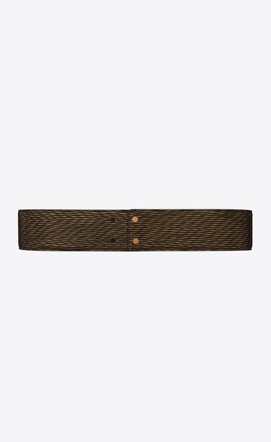 SAINT LAURENT Wide Belts D MONOGRAM Deconstructed Buckle Belt in Gold and Black Leather Lamé b_V4