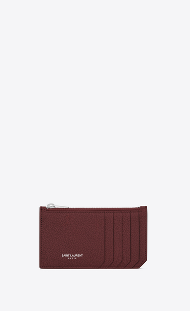 SAINT LAURENT Saint Laurent Paris SLG Woman FRAGMENTS Zip Pouch in Dark Red Grained Leather a_V4