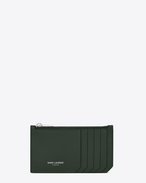 SAINT LAURENT Saint Laurent Paris SLG D FRAGMENTS Zip Pouch in Dark Green Leather f