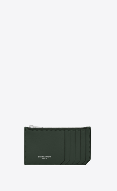 SAINT LAURENT Saint Laurent Paris SLG D FRAGMENTS Zip Pouch in Dark Green Leather a_V4