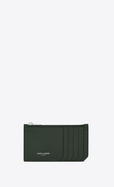 SAINT LAURENT Saint Laurent Paris SLG D FRAGMENTS Zip Pouch in Dark Green Leather v4