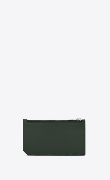 SAINT LAURENT Saint Laurent Paris SLG D FRAGMENTS Zip Pouch in Dark Green Leather b_V4