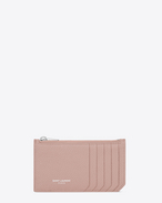 SAINT LAURENT Saint Laurent Paris SLG D FRAGMENTS Zip Pouch in Pale Blush Grained Leather f