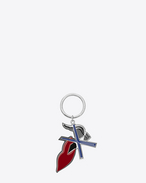SAINT LAURENT Key Ring D BOUCHE SAINT LAURENT Key Ring in Silver-Toned Metal and Black and White Enamel f