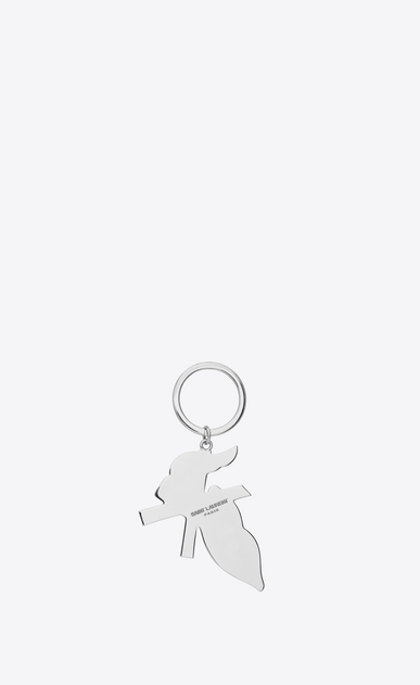 SAINT LAURENT Key Ring Woman BOUCHE SAINT LAURENT Key Ring in Silver-Toned Metal and Black and White Enamel b_V4