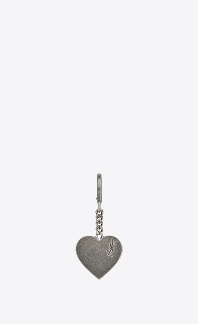 SAINT LAURENT Key Ring D Signature Heart Key Ring in Brushed Silver-Toned Metal a_V4