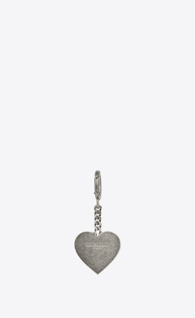 SAINT LAURENT Key Ring D Signature Heart Key Ring in Brushed Silver-Toned Metal b_V4